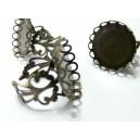 5 Supports de bague 20 mm vague bronze  dentelle