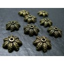 20 breloques bronze coupelle feuille A