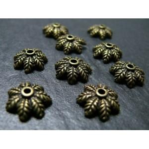40 breloques bronze ref OB8911 coupelle feuille