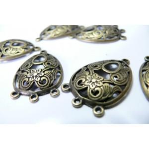 1 magnifique breloque bronze multi connecteurs arabesque ref A14448