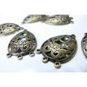 6 magnifiques breloques bronze multi connecteurs arabesque ref A1448