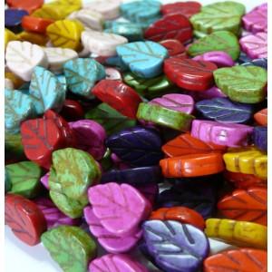 1 fil de 28 feuilles multicolor ( turquoise synthetic ) 9*14mm