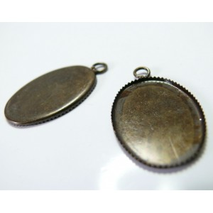 5 Supports de pendentif 18*25mm bronze plateau