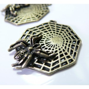 1 breloque bronze toile d'araignée