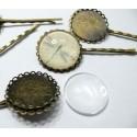 20 pièces: 10 barrettes rondes double vague bronze 25mm  et 10 cab