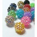 2 perles jaunes shamballa 12*14mm