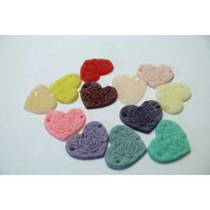 12 cabochons Résine coeur mulit color 15x13x1.5mm