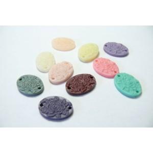 10 cabochons Résine oval mulit color 17x12x3mm