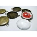 10 pièces : 5 Supports double de pendentif 20mm bronze et 5 cabochons