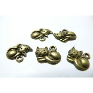2 breloques bronze petit chaton
