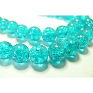 20 perles de verre craquelé bleu 6mm