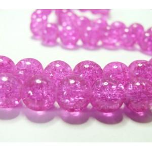 10 perles de verre craquelé rose 10mm