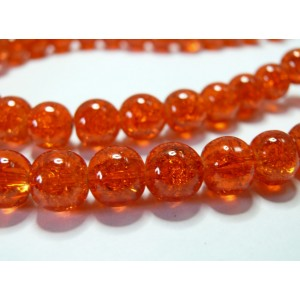 10 perles de verre craquelé orange 10mm