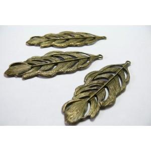 1 piece breloque Bronze Grand pendentif feuille