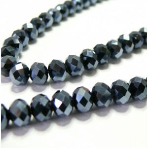 10 perles de cristal facetté gris foncé 5 par 8mm