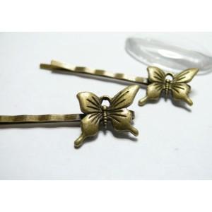 1 piece Bronze barrette petit papillon