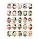 Collage digital GEISHA Oval 18 par 13mm