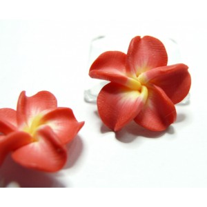 2 fleurs cabochons  fimo rouge  20mm