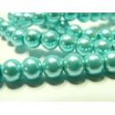 10 perles de verre nacre bleu ciel 6mm