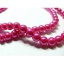 10 perles de verre nacre rose fushia 6mm GP8