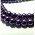 10 perles de verre nacre violet foncé 6mm