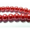 10 perles de verre nacre rouge 10mm
