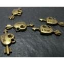 50 pieces bronze petits coeurs et flèches