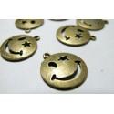 10 breloques pendentifs smileys bronze
