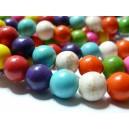 20 perles Turquoise Howlite mulitcolor 6mm