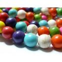 1 fil perles Turquoise Howlite mulitcolore 10mm ( 39 perles)