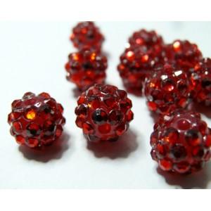 10 perles shambala rouge12*10mm