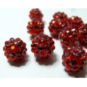 10 perles shambala rouge12*10mm
