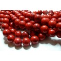 10 perles Turquoise Howlite rouge 10mm