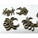 4 breloques pendentifs araignées bronze