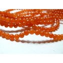 65 perles jade teintée couleur orange 6mm