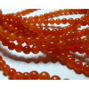 49 perles jade teintée couleur orange 8mm