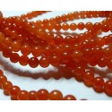 49 perles jade teintée couleur orange 8mm