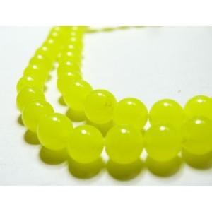 10 perles jade teintée couleur jaune flashy 4mm