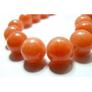 10 perles  jade teintée couleur orange  corail 6mm