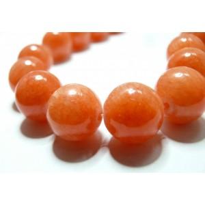 2 perles jade teintée couleur orange corail 14mm