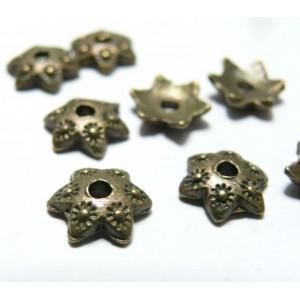 10 pieces breloque coupelle caps OBA1224 fleur bronze