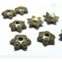 10 pieces breloque coupelle caps OBA1224 fleur bronze