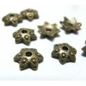 20 pieces breloque coupelle caps fleur bronze