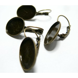 2 Supports de Boucle d'oreille bronze qualité 13 par 18mm