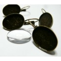 12 pièces :6 Supports de Boucle d'oreille bronze et 6 cab13 par 18mm
