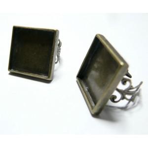2 Supports de bague carré 20mm Bronze dentelle