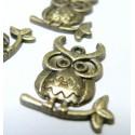 10 pieces bronze breloque chouette ID56