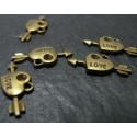 20 pieces breloque pendentif bronze petits coeurs et flèches