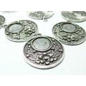 2 pièces pendentif rond fleur  ref 238 Vieil argent