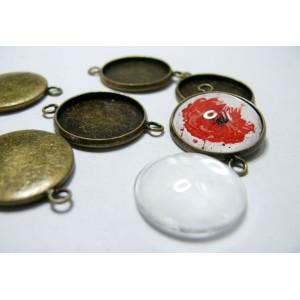 10 pièces : 5 Supports double de pendentif 25mm bronze et 5 cabochons